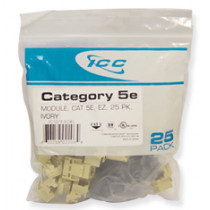 ICC IC107E5CIV CAT 5e, EZ, 25 PK Modular Connector, Ivory