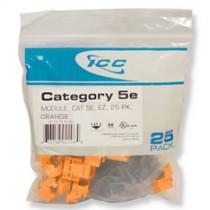 ICC IC107E5COR CAT 5e, EZ, 25 PK Modular Connector, Orange