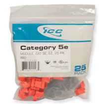 ICC IC107E5CRD CAT 5e, EZ, 25 PK Modular Connector, Red