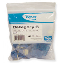 ICC IC107L6CBL CAT 6, EZ, 25 PK, Modular Connector, Blue
