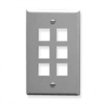 ICC IC107F06GY FACEPLATE, FLAT, 1-GANG, 6-PORT,  Grey
