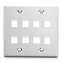 ICC IC107FD8WH FACEPLATE, FLAT, 2-GANG, 8 PORT, White