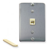 ICC Wall Plate, Telephone, 6P6C, Stainless Steel