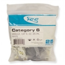 ICC IC107L6CWH CAT 6, EZ, 25 PK, Modular Connector, White